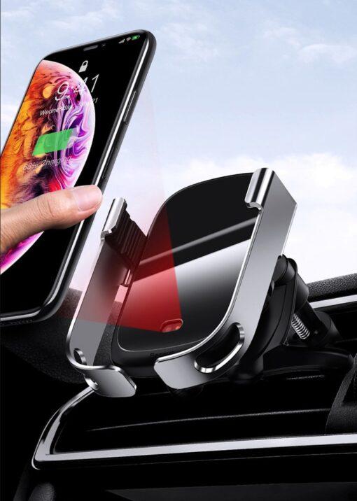 Baseus Rock Smart autohoidik koos juhtmevaba Qi laadijaga ja infrapuna sensoriga hõbe WXHW01 0S 9