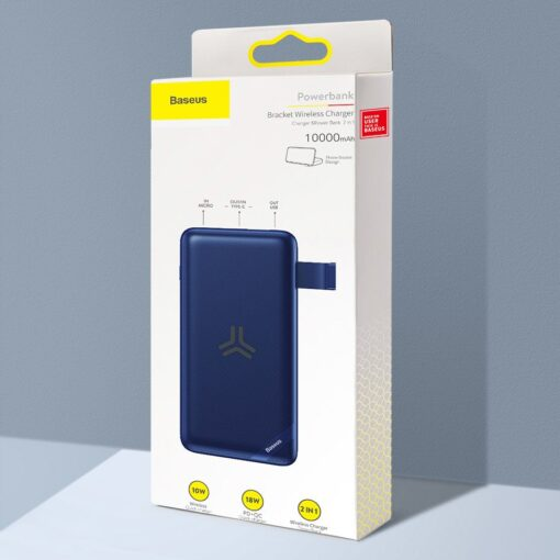 Juhtmevaba laadijaga akupank Baseus S10 Bracket 10000mAh 18W with Wireless Charger Qi 10W black PPS10 01 14