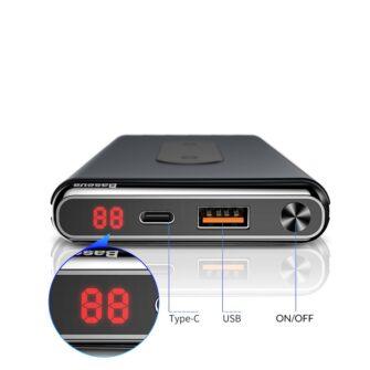 Juhtmevaba laadijaga akupank Baseus Wireless Charger Qi 10 000 mAh 15W USB Type C PD Quick Charge 3.0 QC WXHSD D01 14