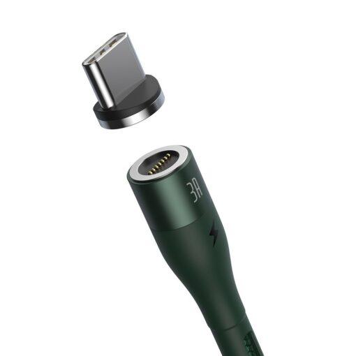 Magnetiga laadija juhe Baseus Zinc USB USB Type C Q.C AFC 1 m 3A roheline CATXC M06 1