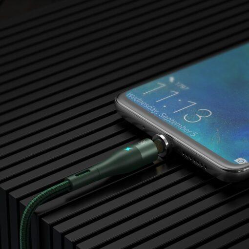 Magnetiga laadija juhe Baseus Zinc USB USB Type C Q.C AFC 1 m 3A roheline CATXC M06 12
