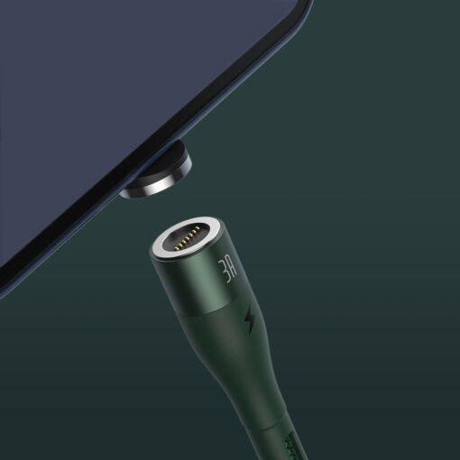 Magnetiga laadija juhe Baseus Zinc USB USB Type C Q.C AFC 1 m 3A roheline CATXC M06 8
