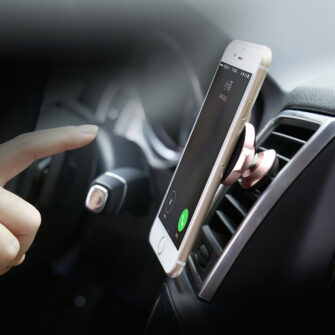 Magnetiga telefonihoidik autosse nahast kattega Baseus Small Ears must SUER A01 11