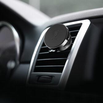 Magnetiga telefonihoidik autosse nahast kattega Baseus Small Ears must SUER A01 12