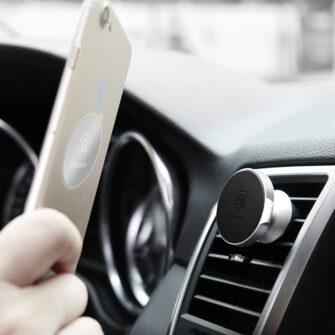 Magnetiga telefonihoidik autosse nahast kattega Baseus Small Ears must SUER A01 13