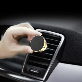 Magnetiga telefonihoidik autosse nahast kattega Baseus Small Ears must SUER A01 7