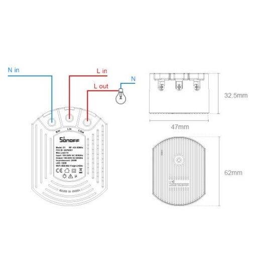 Sonoff D1 Wifi dimmer 433 MHz RF must M0802010005 4