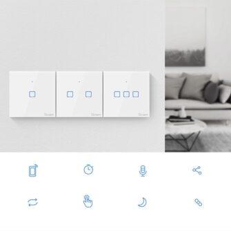 Sonoff T0EU1C TX puutetundlik seinalüliti WiFiga juhtmevaba valge IM190314009 4
