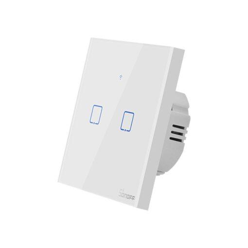 Sonoff T0EU2C TX kahe kanaliga puutetundlik seinalüliti WiFiga juhtmevaba valge IM190314010 1