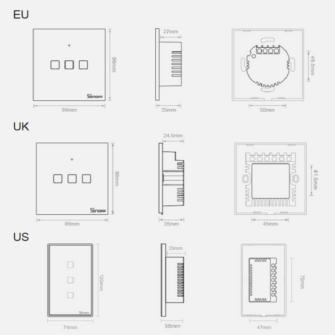Sonoff T0EU2C TX kahe kanaliga puutetundlik seinalüliti WiFiga juhtmevaba valge IM190314010 14
