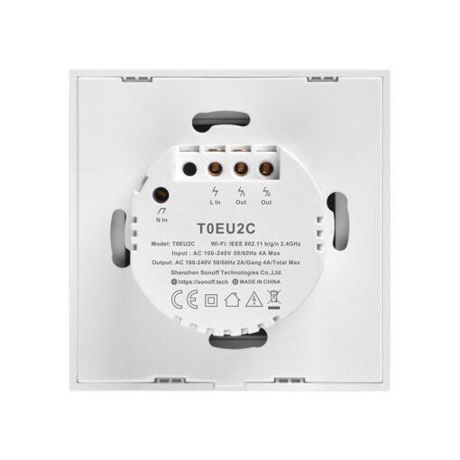 Sonoff T0EU2C TX kahe kanaliga puutetundlik seinalüliti WiFiga juhtmevaba valge IM190314010 2