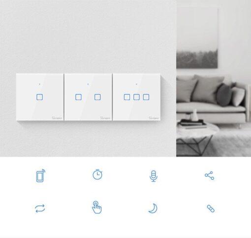 Sonoff T0EU2C TX kahe kanaliga puutetundlik seinalüliti WiFiga juhtmevaba valge IM190314010 4