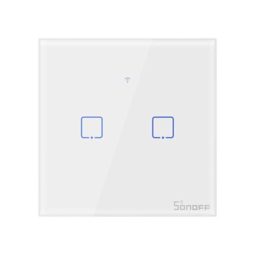 Sonoff T0EU2C TX kahe kanaliga puutetundlik seinalüliti WiFiga juhtmevaba valge IM190314010
