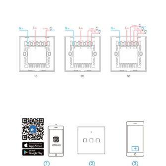 Sonoff T0EU3C TX kolme kanaliga puutetundlik seinalüliti WiFiga juhtmevaba valge IM190314011 14