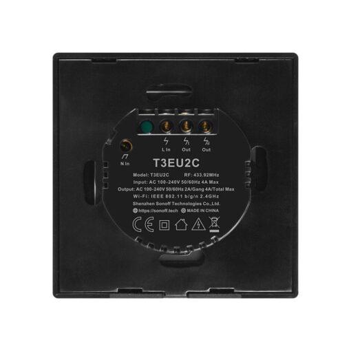 Sonoff T3EU2C TX kahe kanaliga puutetundlik seinalüliti WiFiga juhtmevaba RF 433 MHz must IM190314019 3
