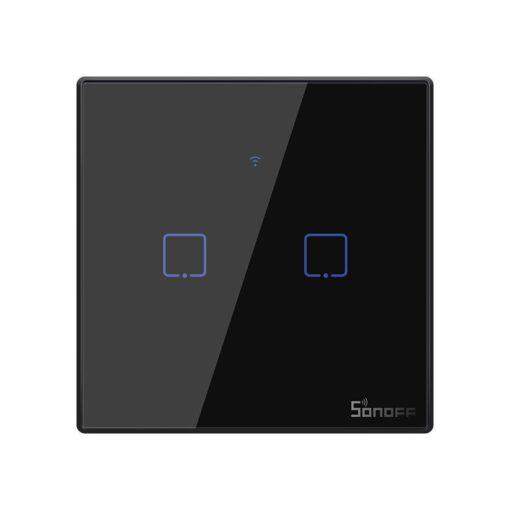 Sonoff T3EU2C TX kahe kanaliga puutetundlik seinalüliti WiFiga juhtmevaba RF 433 MHz must IM190314019