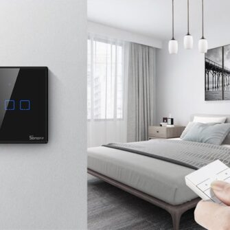 Sonoff T3EU2C TX kahe kanaliga puutetundlik seinalüliti WiFiga juhtmevaba RF 433 MHz must IM190314019 6