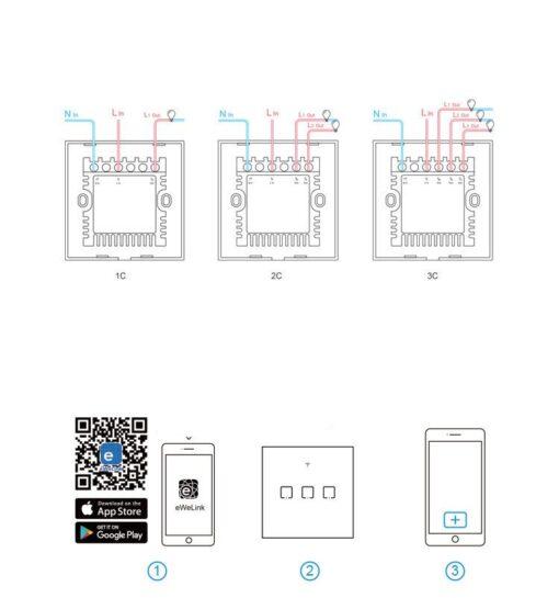 Sonoff T3EU3C TX kolme kanaliga puutetundlik seinalüliti WiFiga juhtmevaba RF 433 MHz must IM190314020 13