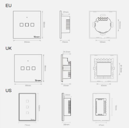 Sonoff T3EU3C TX kolme kanaliga puutetundlik seinalüliti WiFiga juhtmevaba RF 433 MHz must IM190314020 14