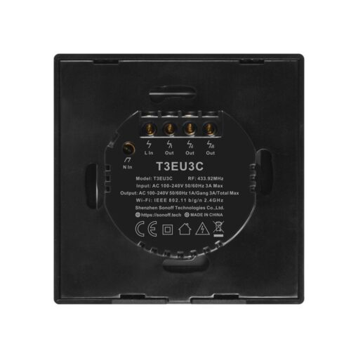 Sonoff T3EU3C TX kolme kanaliga puutetundlik seinalüliti WiFiga juhtmevaba RF 433 MHz must IM190314020 3