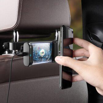 Telefonihoidik auto peatugedele juhtmevaba laadimisega 15W Qi must WXHZ 01 13