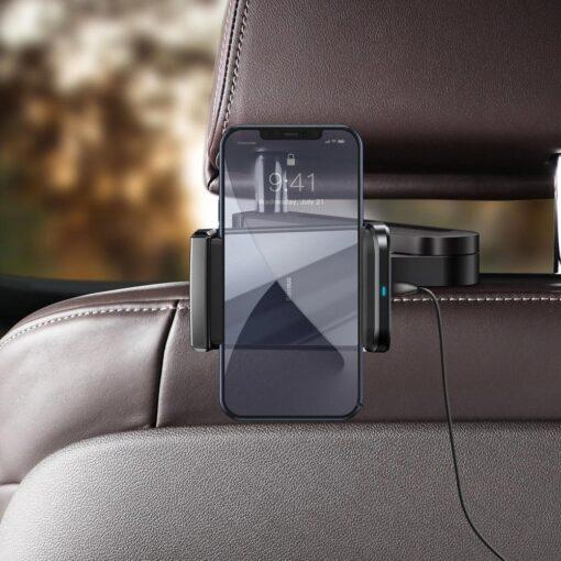 Telefonihoidik auto peatugedele juhtmevaba laadimisega 15W Qi must WXHZ 01 9
