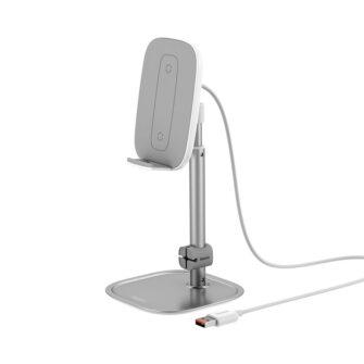 Teleskoop telefonihoidja koos juhtmevaba laadimisega 15 Qi USB juhtmega hõbe SUWY D0S 1