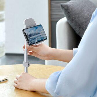 Teleskoop telefonihoidja koos juhtmevaba laadimisega 15 Qi USB juhtmega hõbe SUWY D0S 10