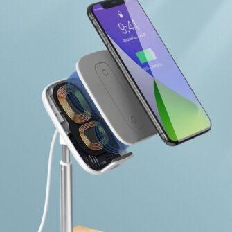 Teleskoop telefonihoidja koos juhtmevaba laadimisega 15 Qi USB juhtmega hõbe SUWY D0S 14