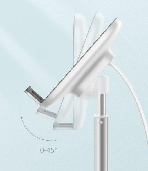 Teleskoop telefonihoidja koos juhtmevaba laadimisega 15 Qi USB juhtmega hõbe SUWY D0S 15