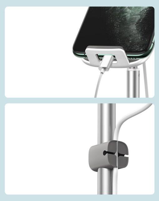 Teleskoop telefonihoidja koos juhtmevaba laadimisega 15 Qi USB juhtmega hõbe SUWY D0S 16