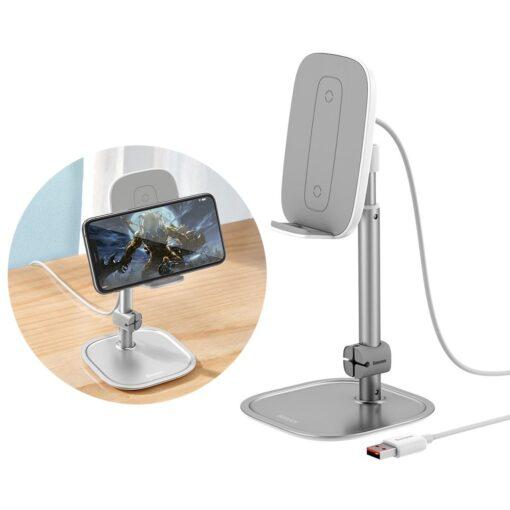 Teleskoop telefonihoidja koos juhtmevaba laadimisega 15 Qi USB juhtmega hõbe SUWY D0S