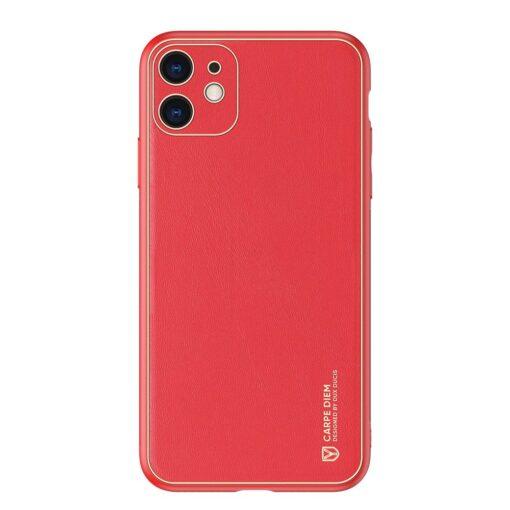 iPhone 11 ümbris YOLO kunstnahast ja silikoonist servadega punane 12