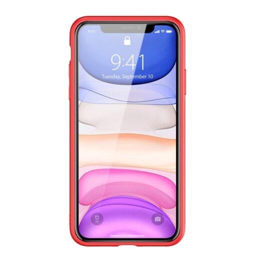 iPhone 11 ümbris YOLO kunstnahast ja silikoonist servadega punane 13