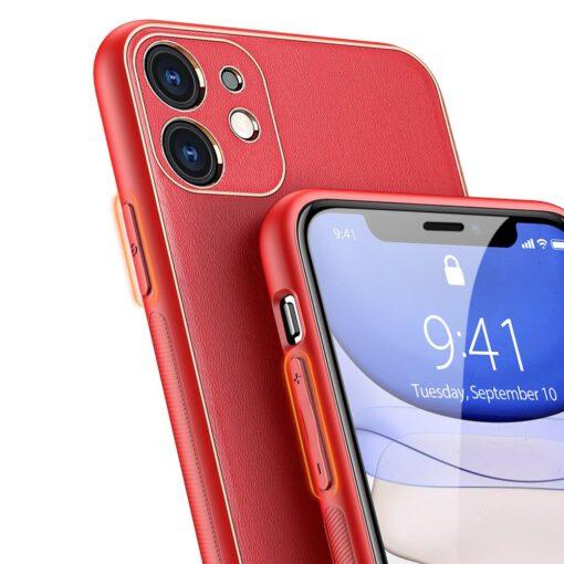 iPhone 11 ümbris YOLO kunstnahast ja silikoonist servadega punane 3
