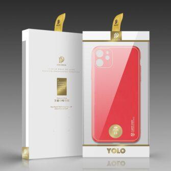 iPhone 11 ümbris YOLO kunstnahast ja silikoonist servadega punane 4