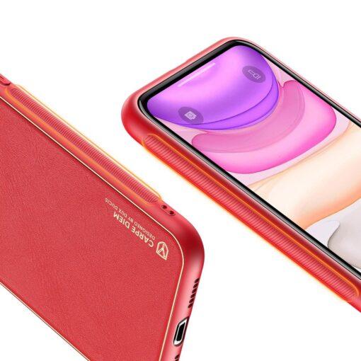 iPhone 11 ümbris YOLO kunstnahast ja silikoonist servadega punane 5