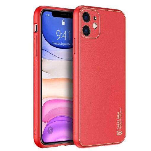 iPhone 11 ümbris YOLO kunstnahast ja silikoonist servadega punane