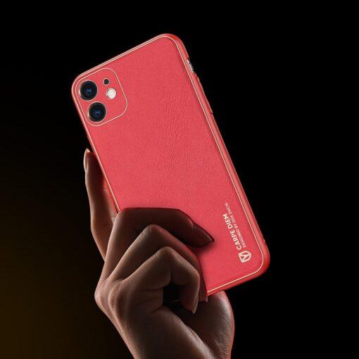 iPhone 11 ümbris YOLO kunstnahast ja silikoonist servadega punane 6