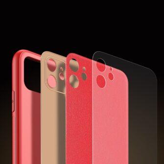 iPhone 11 ümbris YOLO kunstnahast ja silikoonist servadega punane 7