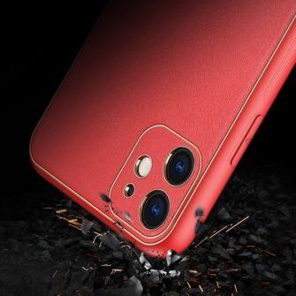iPhone 11 ümbris YOLO kunstnahast ja silikoonist servadega punane 8