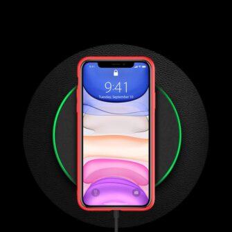 iPhone 11 ümbris YOLO kunstnahast ja silikoonist servadega punane 9