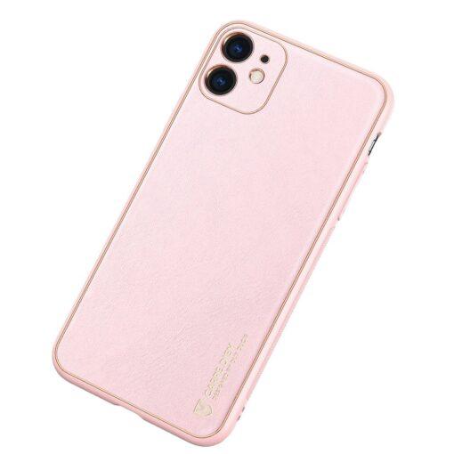 iPhone 11 ümbris YOLO kunstnahast ja silikoonist servadega roosa 1