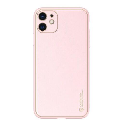iPhone 11 ümbris YOLO kunstnahast ja silikoonist servadega roosa 11