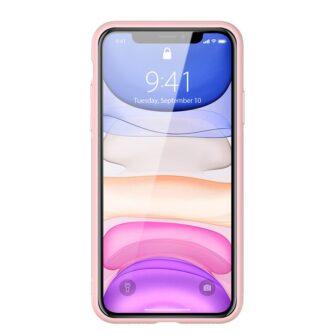 iPhone 11 ümbris YOLO kunstnahast ja silikoonist servadega roosa 12