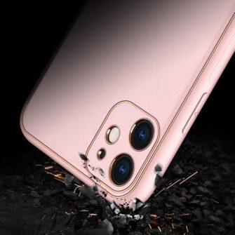 iPhone 11 ümbris YOLO kunstnahast ja silikoonist servadega roosa 13
