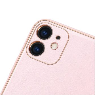 iPhone 11 ümbris YOLO kunstnahast ja silikoonist servadega roosa 2