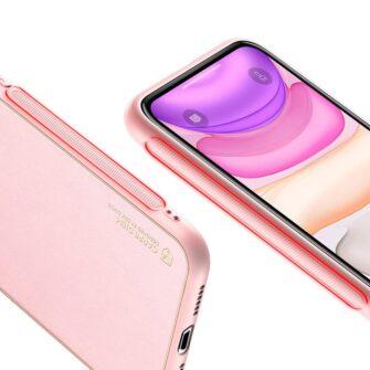 iPhone 11 ümbris YOLO kunstnahast ja silikoonist servadega roosa 3