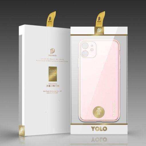 iPhone 11 ümbris YOLO kunstnahast ja silikoonist servadega roosa 4
