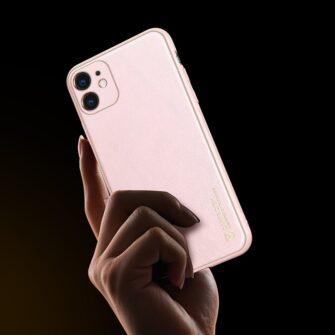 iPhone 11 ümbris YOLO kunstnahast ja silikoonist servadega roosa 5
